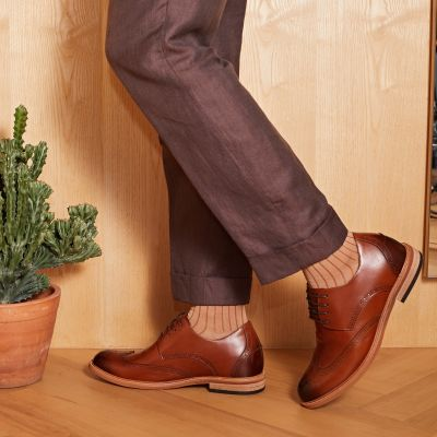 Dude Wingtip Derby - Caramel Brown